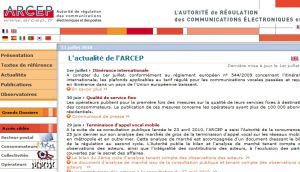 Site officiel : http://www.arcep.fr