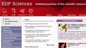 EDP Sciences - Scientific publisher, Journals, Books, Conferences, Services